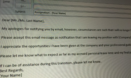 Resignation letter email sample
